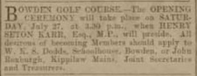 Bowden Golf Club, Melrose. Announcing the opening of the course in 1901.