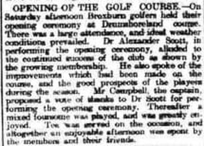 Broxburn Golf Club, West Lothian. Opening of the new course in 1914.