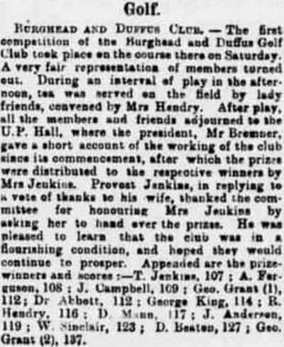Burghead and Duffus Golf Club, Elgin, Moray. A report on the first competition in October 1896.