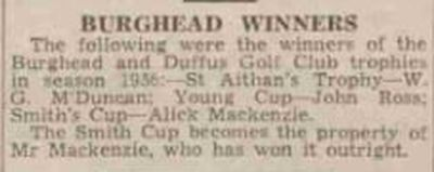 Burghead and Duffus Golf Club, Elgin, Moray. Trophy winners in 1936.