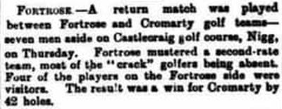 Cromarty Golf Club, castlecraig, Nigg. Match played in August 1898 against Fortrose.