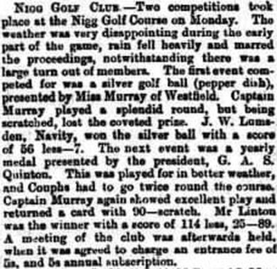 Nigg Golf Club, Castlecraig, Cromarty. Competition results from September 1891.