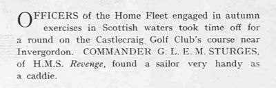 Castlecraig Golf Club, Nigg, Cromarty. Officers of the Home Fleet playing the course in 1938.