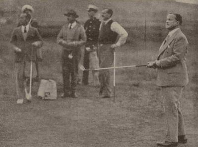Castlecraig Golf Club, Nigg, Cromarty. Mr Duff Cooper, First Lord of the Admiralty on the Nigg course September 1937.