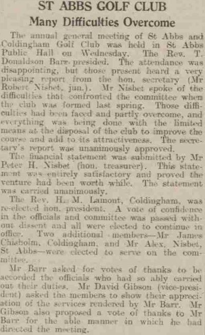 Coldingham & St Abb's Golf Club, Scottish Borders. Report on the annual meeting in March 1937.