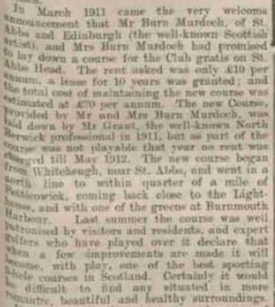 Coldingham & St Abb's Golf Club, Scottish Borders. Article from Berwickshire News 12th August 1913.