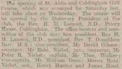 Coldingham & St Abb's Golf Club, Scottish Borders. Report from June 1936 on the opening of the course.