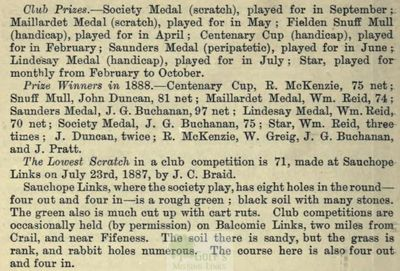 Crail Golfing Society, Fife. Entry from the Golfing Annual 1888/89.