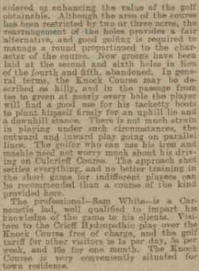 Crieff Golf Club, Perthshire. Report from the Dundee Evening Post July 1903.