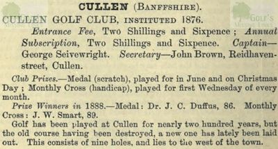 Cullen Golf Club, Moray. Entry for Cullen from the Golfing Annual 1888/89.