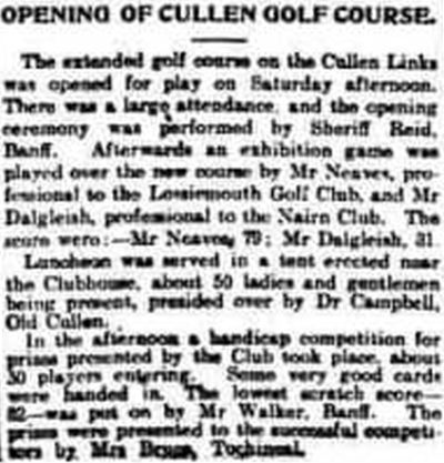 Cullen Golf Club, Moray. A report on the opening of the new golf course June 1905.