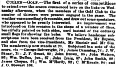 Cullen Golf Club, Moray. Competition results from June 1876.