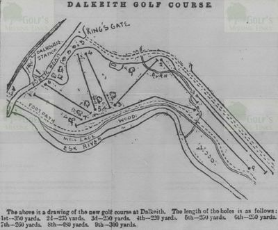 Dalkeith and Newbattle Golf Club, Course layout from 1896.