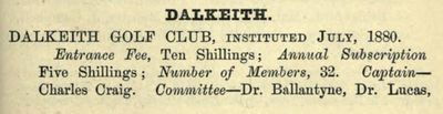 Dalkeith Golf Club, Midlothian. Entry from The Golfing Annual 1888/89.