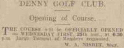 Denny Golf Club, Stirligshire. The opening of the new golf course in June 1924.