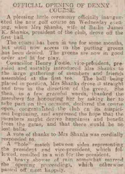 Denny Golf Club, Stirlingshire. Report on the opening of the course in June 1924.