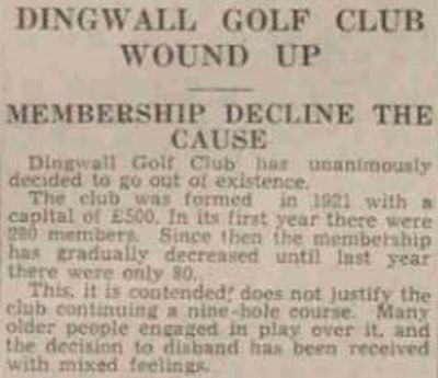 Dingwall Golf Club, Highland. The club is wound up in May 1937.