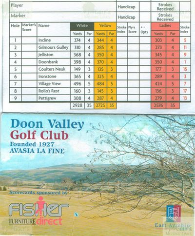 Doon Valley Golf Club, Patna, East Ayrshire. Scorecard for the course.
