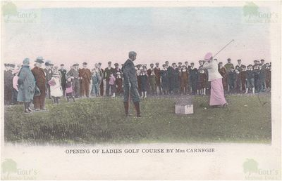 Dornoch Ladies' Golf Club. A colour tainted picture of Mrs Carnegie.