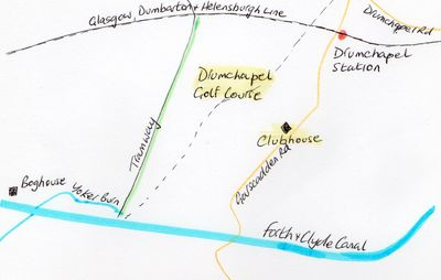 Drumchapel Golf Club, Lanarkshire. Location of the golf course.