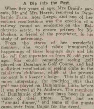 Dumbarnie Links Golf Course, Fife. Recollections of the Dumbarnie Links in 1925.