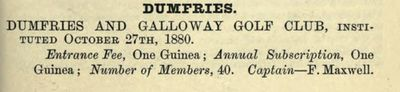 Dumfries & Galloway Golf Club. Entry from the 1888/89 Golfing Annual.