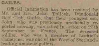 Dundonald Golf Club, Gailes, Ayrshire. Sad reflection of the times from November 1915.