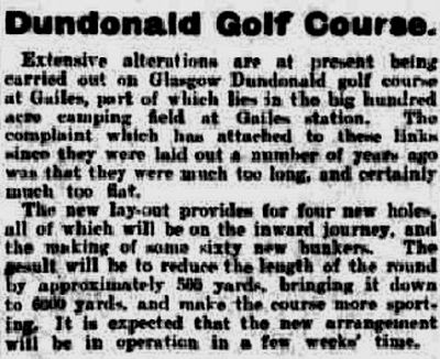 Dundonald Golf Club, Gailes, Ayrshire. Report on changes to the course in February 1922.