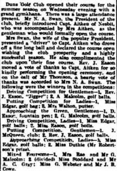 Duns Golf Club, Scottish Borders. The opening of the golf course for the 1914 season.