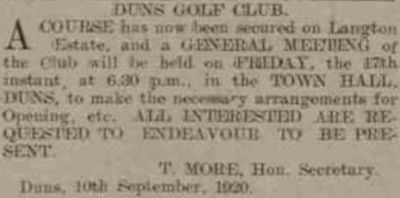 Duns Golf Club, Scottish Borders. The proposed new golf course September 19120