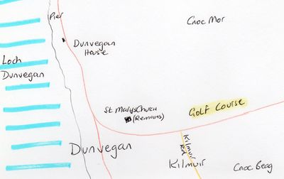 Dunvegan Golf Club, Skye. Location of the golf course.