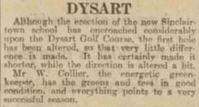 Dysart Golf Club, Fife. Report from the Dundee Evening Telegraph March 1931.