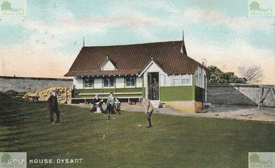 Dysart Golf Club, Fife. The clubhouse, course and golfers on a 1906 postcard.