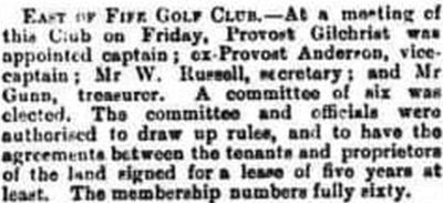 East of Fife Golf Club. Report on a meeting held in August 1889.