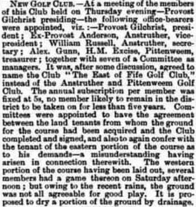 East of Fife Golf Club. Report on the New Club in August 1889.