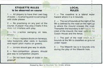 Eyemouth Golf Club, Borders. Local Rules.