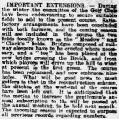 Fauldhouse Golf Club, West Lothian. Report on the course extension in February 1913.