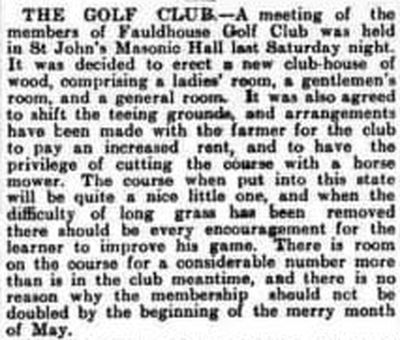 Fauldhouse Golf Club, West Lothian. Report on the annual meeting in February 1908.