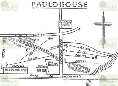 Fauldhouse Golf Club, West Lothian. Layout of the early golf course.