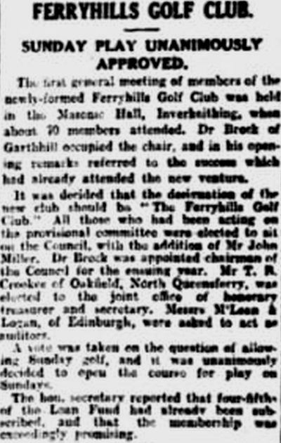 Ferryhills Golf Club, North Queensferry. Report on the first annual meeting February 1929.