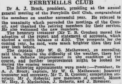 Ferryhills Golf Club, North Queensferry, Fife. Report on the annual meeting in February 1934.