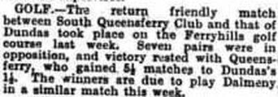 Ferryhills Golf Club, North Queensferry. Report on a match played at Ferryhills in September 1935.