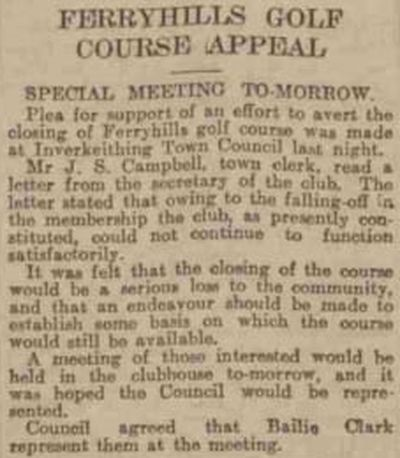 Ferryhills Golf Club, North Queensferry. Report of a special meeting in February 1940.