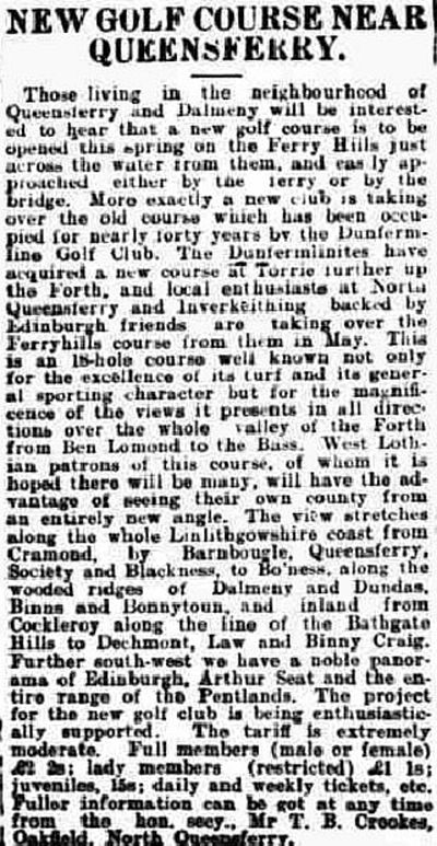 Ferryhills Golf Club. North Queensferry. Report on the new course at Ferry Hills in March 1929.