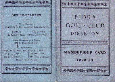 Fidra Golf Club, Dirleton. Membership Card 1932/33.
