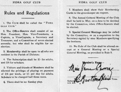 Fidra Golf Club, Dirleton. Rules and Regulations.