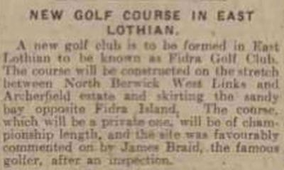 Fidra Golf Club, East Lothian. James Braid gives advise on the course in December 1923.