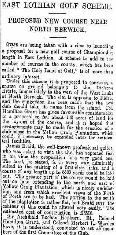 Fidra Golf Club, East Lothian. Report on the proposed golf course in October 1923.