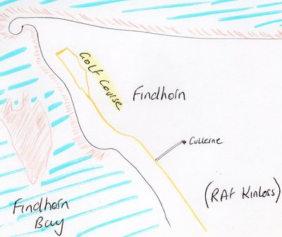 Findhorn Golf Club, Moray. Location of the golf course.