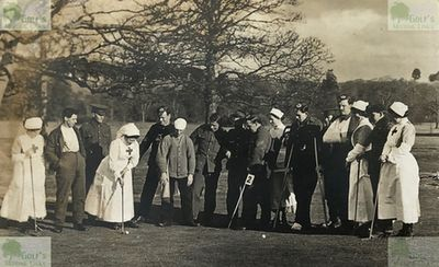 Fochabers Golf Club, Gordon Castle, Elgin, Moray. Group on Gordon Castle Golf Links April 1915.